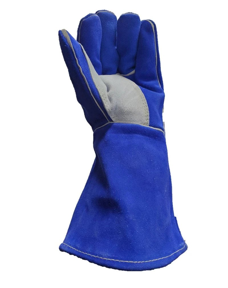 LEATHER RE-INFORCED WELDING GLOVES – BLUE