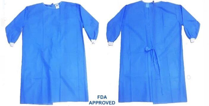 ISOLATION GOWNS BLUE 40GSM – FDA CERTIFIED